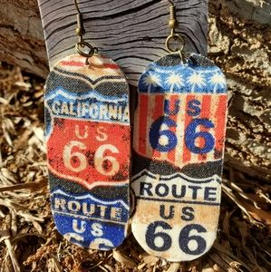 Route 66 Cloth/Wood Earrings